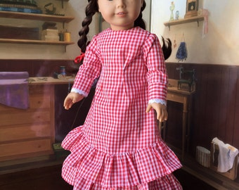1880s Mary and Laura Prairie Dress in Red for 18 inch doll
