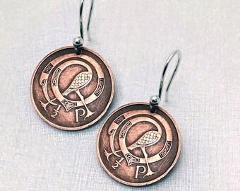 Irish Earrings - Ireland half pence COIN EARRINGS - celtic bird design - Irish harp - book of kells - bird earrings - Ireland jewelry
