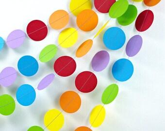 Rainbows Dots 10ft. Garland *** Rainbow Birthday Party, 1st Birthday Girl, Photo Backdrop, Noahs Ark, Classroom Decor ***
