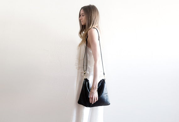 LEAH Black Leather Shoulder Bag. Black Leather Cross Body Purse. Soft Leather Cross Body Purse. Womens Purse