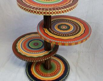 Mandala Side Table- Earth Tones Four Shelves- Custom Painted to Order