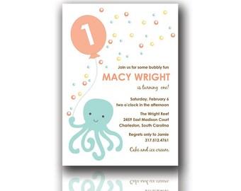 Printable Birthday Invitations, Octopus Invitations, Under the Sea Invitations, First Birthday Invitations, Circus Birthday