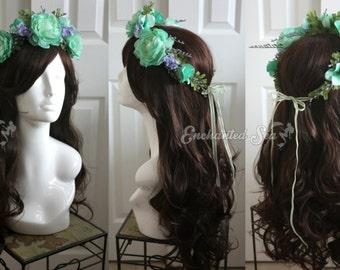 Mint & Lavender Spring Floral Faerie Crown