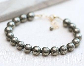 Pyrite Bracelet, Gold Stacking Bracelet, Stacking Gemstone Bracelet, Neutral Every Day Bracelet, Beaded Gemstone Bracelet,  Gold Bracelet