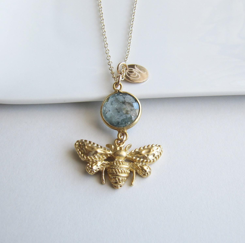 gold honey bee necklace aquamarine necklace gemstone
