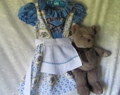 On Sale - Girl's 'Storytime Bear With Fairy' Alpine Dirndl Costume: Dress & Apron, All Cotton Fabric, Size 3, Ready To Ship Now