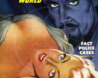 Detective World (Aug 48) - 10x13 Giclée Canvas Print of a Vintage Pulp Detective Magazine Cover