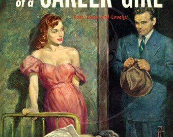 Affairs of a Career Girl - 10x14 Giclée Canvas Print of a Vintage Pulp Paperback Cover