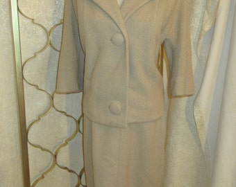 Vintage Ladies Skirt Suit with Mink Collar Medium Jacket Small Skirt