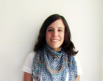 Organic cotton shawl, hand crocheted, light blue and grey