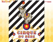 Circus Baby Shower Poster - Vintage Cirque du Bebe Backdrop Poster Art - Made to Order - Art Print in PRIMARY Colors