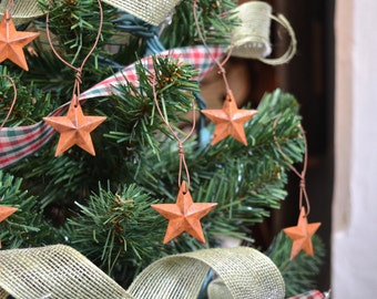 Set of 6 - Rusty Tin Star Ornaments Christmas Tree Holiday Decor Farmhouse Country Barn Star