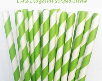 Lime Striped Paper Straws (S08) with free printable DIY Toppers - Pack of 25 or 50 Straws