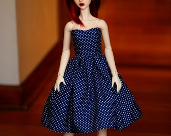 BJD Clothes Navy And White Polka Dot Dress For SD13 - Last One