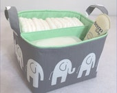"LG Diaper Caddy 10""x10""x7"" Fabric Bin, Fabric Storage Organizer, Basket, White Elephant /Grey with White Lining"