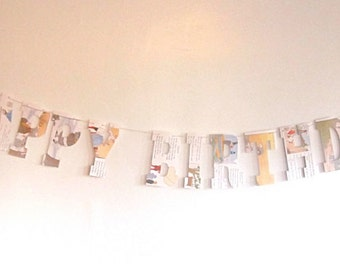 Book Party, Happy Birthday Banner, vintage Book Banner, Book Birthday, Reading Birthday, Vintage Book Party, Happy Birthday