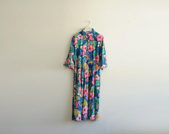 """Vintage """"The American Shirt Dress"""" Tropical Floral Dress, Made in USA size 11/12"""
