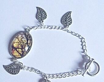 SALE - Woodland Bracelet - Autumn Bracelet - Nature Bracelet - Leaf Charms - Woodland Jewelry - Autumn Jewellery - Gift For Her