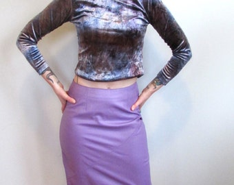 Vintage 1980's Lilac Wilsons Leather Mini Skirt Size S