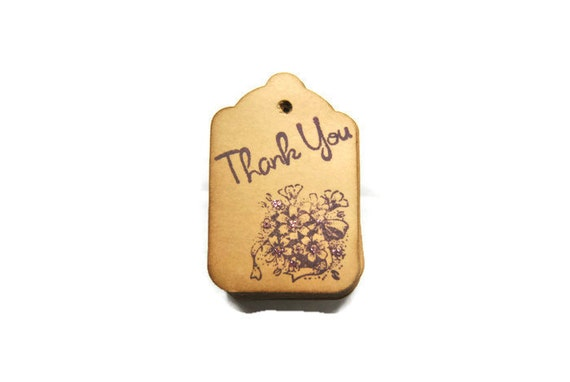 Coffee stained small thank you tags. Vintage inspired purple  bouquet stamp. Party favors decor. gift wrapping. party favors decoration