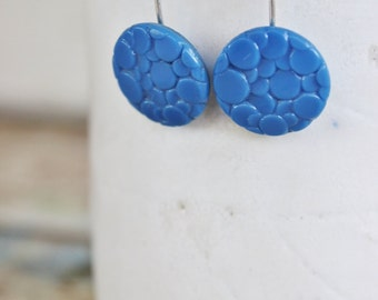 Earring Upcycled Vintage Antique Czech Glass Button Sterling Silver Jewellery Australia Blue