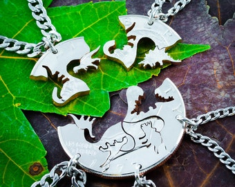 Dinosaur 5 Piece Necklaces, Fits like a puzzle, T-rex, Raptor, Triceratops, Brontosaurus, and Stegosaurus, Cut Coin