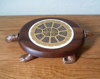 Vintage Turtle Cheese Tray Turtle Wood Cheese Board Wooden Cheese Board Turtle Trivet With Knife Tile Brass Serving Board Cutting Board