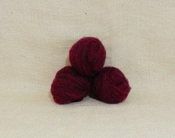 Needle felting wool batting in Garnet, wool batting, felting supplies, Garnet fleece wool batting in Garnet, plum purple wool for spinning,