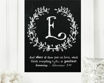 "Instant ""Family Monogram Scripture"" Chalkboard Wall Art Print 11x14 Typography Letter ""E"" Printable Home Decor"