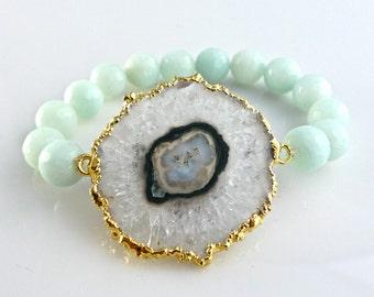 Amethyst stalactite slice bracelet with faceted brazilian amazonite beads; stretch stacking beaded gemstone bracelet