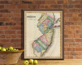 """Old map of New Jersey  - Vintage map print - New Jersey  map reproduction  - 16 x 20 """""""