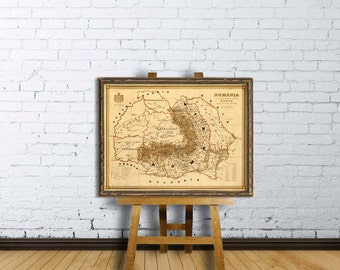 Old map of Romania - Harta veche Romania - Fine  print