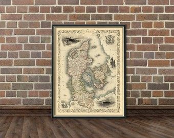 Antique map - Old map of Denmark - Vintage map of  Denmark  fine reproduction