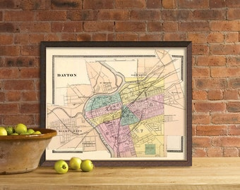 Old  map - Vintage map of Dayton - Archival reproduction
