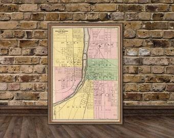 Grand Rapids map - Antique map - Vintage map of Grand Rapids