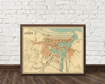 Map of Dieppe - Old map of Dieppe print - Fine print