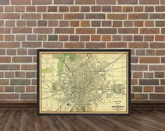 Indianapolis map - Old map of Indianapolis print - Archival print