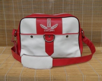 Vintage 1990s Red And White Faux Leather Medium Size Diesel Messenger Bag Satchel