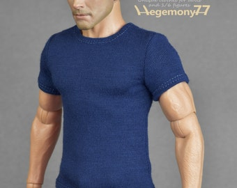 1/6th scale dark blue T-shirt for: action figures and male fashion dolls
