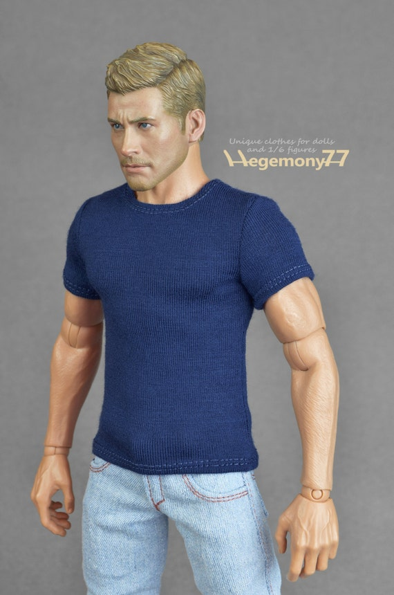 1/6th scale dark blue T-shirt for: collectible movable action figures and male fashion dolls
