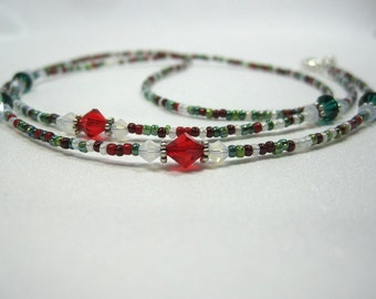 Beaded Lanyard Christmas Red and Green, Eyeglass Chain, ID Badge, Spectacle, Sunglasses Holder