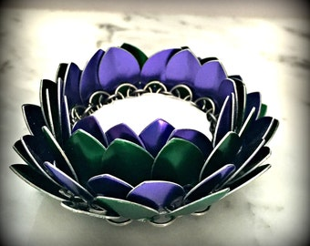 Chainmaille Lotus Flower Candle Skirt, Lotus Flower Candle Holder, Lotus Blossom Candle Holder, Asian Decor -Made to Order