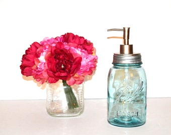 Soap Dispenser Mason Jar Soap Pump Vintage Blue Mason Jar Soap Pump Kitchen Soap Dispenser Bathroom Soap Dispenser