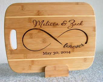 Custom Cutting Board Cheese Tray Engraved and Carved Personalized Infinity Sign Wedding Cutting Board