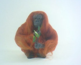 Needle Felted Orangutan