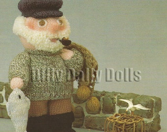 Anne Carol Creations Woolly Wotnots No 31 THE FISHERMAN Toy Doll Ornament Knitting pattern