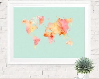 World Map Print, Pastel Coral Pink & Sea Foam Green, Pastel World Map Travel Art Print, Map Print, Girls Room Decor, Girl Nursery Decor