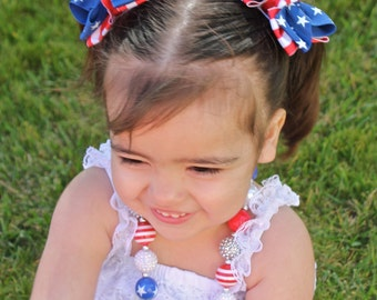 4th of July Pigtail Bows - 4th of July Hairbow - Stars and Stripes Pig Tail Bows