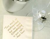 Custom Gold Foil Cocktail Napkins - Choose Your Message, Wedding Reception, Event, Shower - Ivory, Beverage, Drink Size
