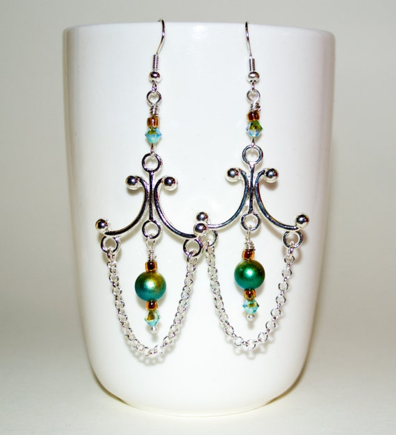 Bohemian Earrings, Chandelier Earrings, Long Boho Drop Earrings, Chain Earrings, Silver Green Dangle Earrings, Bead Earrings, Long Earrings